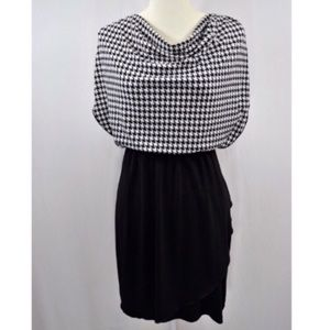 Black and white cowl neck dress